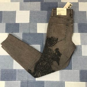 NWT Topshop Jamie Moto Embroidered Skinny Jean